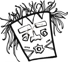 hawaiian tiki clip art | Royalty Free Clipart Image: Black and White Tiki Mask with Wild Hair