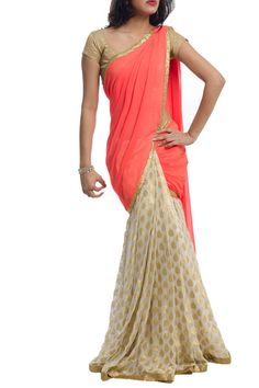 Pearl Lehenga Saree with Neon Orange