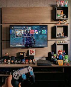 Computer Desk Setup, Gaming Room Setup, Bedroom Setup, Tv In Bedroom, Small Game Rooms, Creative Kids Rooms, Geek Room, Man Cave Room, Video Game Rooms