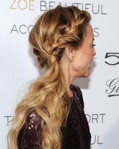 this is another pretty hair style- i imagine it with a french fishtail instead of a french braid