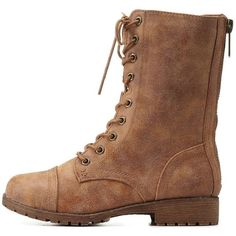 Charlotte Russe Chestnut Bamboo Faux Fur-Lined Combat Boots by Bamboo... ($43) ❤ liked on Polyvore featuring shoes, boots, ankle booties, chestnut, combat boots, lace-up ankle booties, charlotte russe booties, lace up booties and military lace up boots