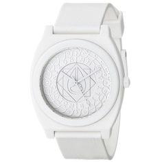 Nixon A1191620 Men's The Time Teller P White Shadow Dial White Polyurethane Strap Watch
