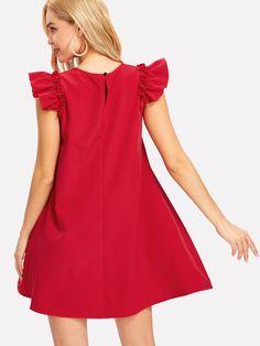 Button Keyhole Back Ruffle Shoulder Swing Dress -SheIn(Sheinside) Frock Fashion, Red Fashion, Boho Fashion, Fashion Outfits, Cute Dresses, Casual Dresses, Short Dresses, African Fashion Dresses, African Dress