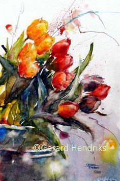 """Watercolor painting """"Red Tulips"""" by Julia Kirilina Watercolor Artists, Watercolour Painting, Watercolor Flowers, Tulip Painting, Oil Painting Flowers, Colorful Pictures, Flower Art, Drawings, Red Tulips"""