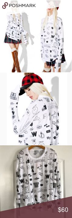 Wildfox School Emojis Perry Thermal Adorable long Sleeve Top with super soft waffle texture.  Flowing loose fit with doodle graphics. Dolphin hem line unfinished. The perfect over sized pull over. L Wildfox Couture Tops Tees - Long Sleeve