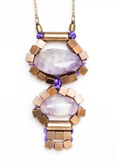 Necklace - Collar, with 2 Amethysts, by Mimi Scholer