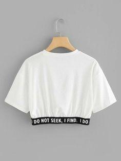 Camiseta corta con estampado de slogan-Spanish SheIn(Sheinside) Short t-shirt with slogan print-Spanish SheIn (Sheinside) Girls Fashion Clothes, Teen Fashion Outfits, Mode Outfits, Outfits For Teens, Girl Outfits, Cute Lazy Outfits, Crop Top Outfits, Stylish Outfits, Belly Shirts