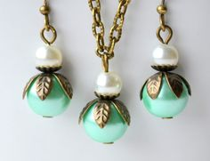Blue mint and ivory Bridesmaid set of jewlery by LaurinWedding, $13.50