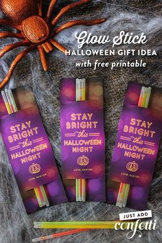 I really love this Stay Bright this Halloween Night: Glow Stick Halloween Gift Idea (with free printable) because it's a non-candy, non-food simple gift that is really useful for Halloween night. Wearing a bunch of glow sticks make our little trick-or-tre