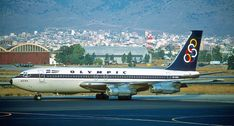 """Boeing 720 """"River Axios"""" at Hellinikon Airport Olympic Airlines, National Airlines, Boeing 720, Boeing Aircraft, Northwest Airlines, Aircraft Pictures, Jet Plane, Air Travel, Athens"""