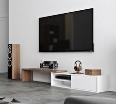 Move, extending TV table in white and walnut veneer