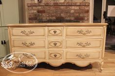French Provencial style, long dresser.  Vintage.  Solid wood.  Available for sale at Sara's Vintage Touch https://www.Facebook.com/SarasVintageTouch