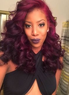 sew in hairstyles with color Love Hair, Gorgeous Hair, Red Hair Sew In, Curly Hair Styles, Natural Hair Styles, Burgundy Hair, Hair Laid, Back To Nature, Hair Highlights