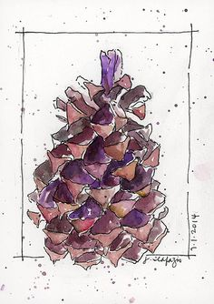 montecito sequoia cone - original watercolor by Jane LaFazio 5x7""