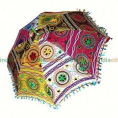 Colorful Embroidered Cotton Rajasthani Umbrella #umbrellas #Rajasthani #embroidery  www.indiaethnix.com