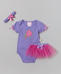 Loving this Duck Duck Goose Purple & Pink 'Sweet' Bodysuit Set - Infant on #zulily! #zulilyfinds