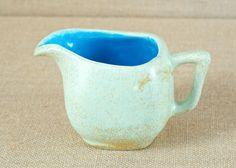 Unique Sky Blue Interior Glazed Pottery Creamer by MyAffordableVintage on Etsy