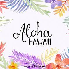 Fundo Aloha com folhas de aquarela
