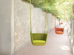 The famous Adagio swing, available in a range of colours from The Modern Garden Company.  Visit http://www.moderngardencompany.com/ for more information.