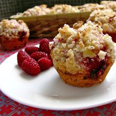Raspberry Lemon Crumble Muffin on a plate.