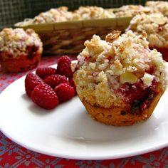 Raspberry Lemon Crumble Muffin on a plate.