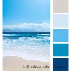Ocean Blue Paint Colors, Ocean Color Palette, Beach Color Palettes, Cool Color Palette, Blue Colour Palette, Blue Color Pallet, Amanda Lee, Sea Colour, Color Swatches