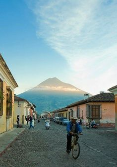 Antigua, Guatemala .  I saw this view every single day as I walked to school when I was there for language immersion.  A beautiful town with wonderful, warm people.