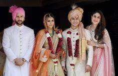 Newly-wed couple Soha Ali Khan and Kunal Khemu along with family members Sharmila Tagore and Saif Ali Khan in Mumbai on Sunday.
