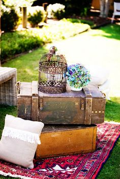 Vintage crates and bird cages!