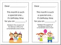 "LDS Primary Birthday ""Cards"" - I love this idea!"