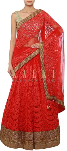 Buy Online from the link below. We ship worldwide (Free Shipping over US$100) http://www.kalkifashion.com/red-lehenga-saree-adorn-in-embossed-thread-embroidery-only-on-kalki.html