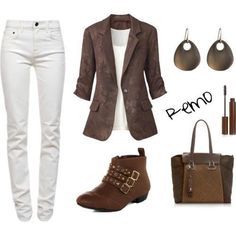 Change out the boots for camel colored knee boots, add a matching belt and a wooden bracelet.