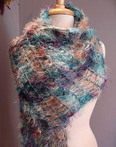 Waterworkx - Loom knit Lightweight Artistic Novelty Fiber Draping Wrap Shawl  in Cool Jewel Tones---Etsy