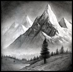 Landscape Mountain Drawingbeginners mountain landscape drawing with oil pastel, landscape mounta Mountain Landscape Drawing, Landscape Drawing Tutorial, Landscape Steps, Nature Landscape, Pencil Drawings Of Nature, Landscape Pencil Drawings, Landscape Sketch, Nature Drawing, Cool Landscapes