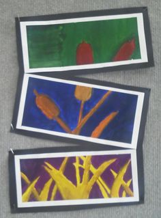 8th Grade Triptych Paintings (Art History, Color Theory, Painting, Organic/Natural form, Neg/Pos Space, etc). http://artclasswithlmj.wordpress.com