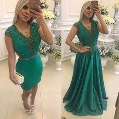 """73eac39076dd1 Atelier  Vestidos Barbara Melo on Instagram  """"Aquele vestido Lindo e com  Duas opções em apenas 1 vestido! 🍀💚 (todos os contatos para vendas e mais  ..."""