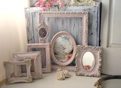 Pink Vintage Ornate Frames Light Pink and by WillowsEndCottage