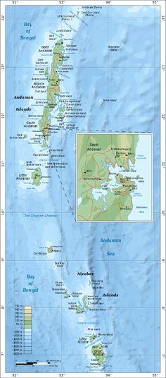 Map of Andaman and Nicobar Islands with an extra detailed area around Port Blair ◆Andaman and Nicobar Islands - Wikipedia http://en.wikipedia.org/wiki/Andaman_and_Nicobar_Islands #Andaman_and_Nicobar_Islands