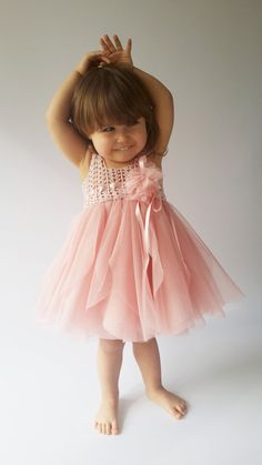Blush Pink Baby Tulle Dress with Empire Waist and Stretch Crochet Top.Tulle dress  for girls with lacy crochet bodice.