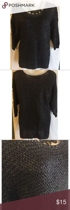 """Jennifer Lopez Black Metallic Sweater Top Sz Large Jennifer Lopez women's black metallic sweater top size large  This sweater has a unique coating on the outside that makes it metallic! Very cool!   Style#: 400983305558 Measurements-  Bust: 45""""  Waist: 44""""  Length: 26""""      Customer service is my #1 priority! I strive to not only meet, but to exceed the standard. If for any reason you are unhappy with your order, I will make it right!     Thank you for supporting small business! Jennifer…"""