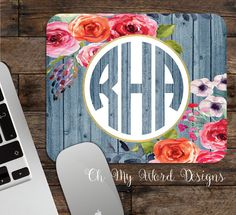 Monogram Mouse Pad-Monogram Mouse Pad-Desk by OhMyWordDesigns