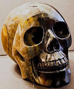 Huge 5.2 Blue & Gold Tiger Eye Skull