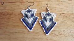 Blue, silver and white peyote stitch arrowheads