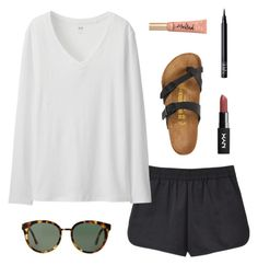 """""""Untitled #315"""" by wlong430 ❤ liked on Polyvore featuring T By Alexander Wang, Uniqlo, Tory Burch, Birkenstock, NARS Cosmetics and Too Faced Cosmetics"""