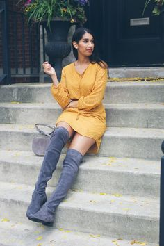 Grey suede over the knee boots and yellow dress