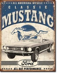 1964 Ford Mustang Convertible Classic Car Perfomance Muscle Tin Sign Man Cave GT | eBay