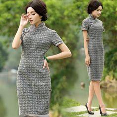 Grey pattern cheongsam short sleeve woolen mandarin collar dress | Modern Qipao