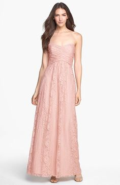 Amsale Plissee Lace Sweetheart Kleid - Blush Pink and Gold Wedding Ideas - brautjungfern kleider Lace Evening Dresses, Lace Dress, Evening Gowns, Best Prom Dresses, Wedding Dresses, Dusty Rose Bridesmaid Dresses, Pink Bridesmaids, Strapless Dress Formal, Formal Dresses
