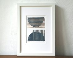 BatonRouge Linoprint Lino Cut blau grau von UrbanSeaIsBatonRouge