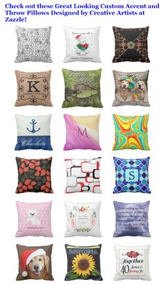 Check out these Great Looking Custom Accent and Throw Pillows Designed by Creative Artists at Zazzle!  #homedecor #pillows #accentpillow #throwpillow